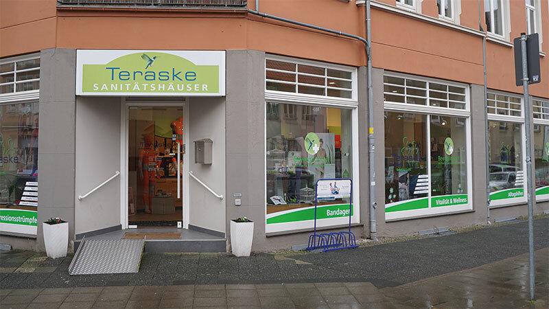 Teraske Sanitätshaus Döhren Eingang am Fiedelerplatz in Hannover